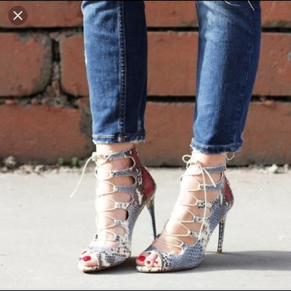 54e84919933 Zara Snake Skin Lace up Stiletto Heels